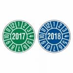 Großrolle Jahresprüfplaketten Ø 35 mm Jahre 2017 bis 2018