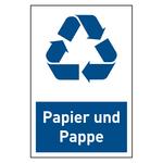 """Recycling-Aufkleber """"Papier und Pappe"""""""