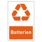 """Recycling-Aufkleber """"Batterien"""""""