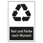 "Recycling-Aufkleber ""Text / Farbe nach Wunsch"""
