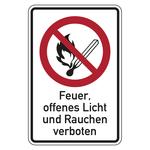 """Verbotszeichen """"Kein Feuer, offenes Licht ..."""" Kunststoff langnachleuchtend 200 x 300 mm"""