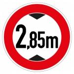 """SONDERPREIS *2. WAHL* Verkehrsschild """"Verbot für Fahrzeuge über 2,85 m einschließlich Ladung"""" Alu refl. RA1 Ø 420 mm"""