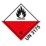 Klasse 4.2 Selbstentzündliche Stoffe mit UN 3175 - Gefahrgutaufkleber