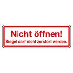 """Siegel """"Nicht öffnen! Siegel darf nicht ... """" 60 x 20 mm aus Dokumentenfolie"""