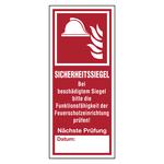 """Aufkleber """"Sicherheitssiegel für Feuerschutzeinrichtungen"""" mit Beschriftungsfeld"""