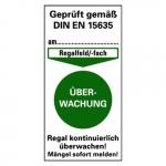 """Prüfetikett für Regalkennzeichnung, grün """"Überwachung"""" 40 x 80 mm Folie"""