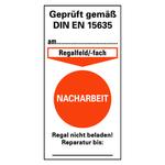 """Prüfetikett für Regalkennzeichnung, orange """"Nacharbeit"""" 40 x 80 mm Folie"""