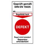 """Prüfetikett für Regalkennzeichnung, rot """"Defekt"""" 40 x 80 mm Folie"""