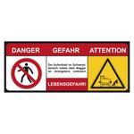 """Bagger-Schild """"Danger Gefahr Attention Lebensgefahr"""" 500 x 200 mm"""